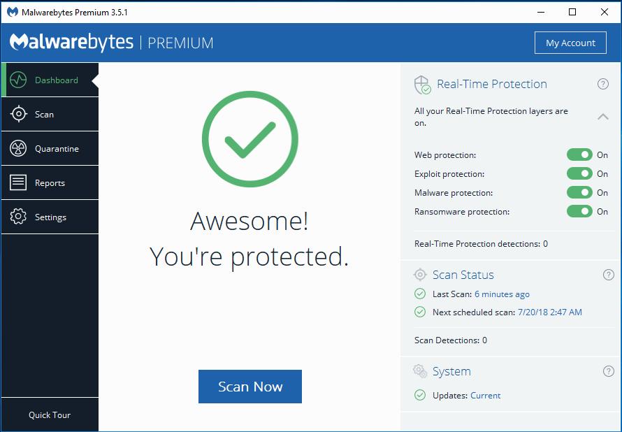 Malwarebytes interface